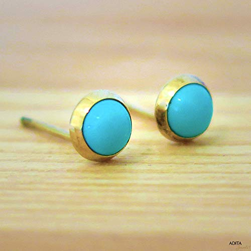 14K Gold Small Turquoise Stud Earrings - 14K Solid Yellow Gold Studs, Tiny 4mm Turquoise Gemstone Pushback Closure, December Birthstone, Dainty Handmade Jewelry for Girls