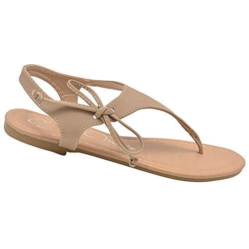 Bella Marie Adult Taupe Lace Up T-Strap Thong Flip Flop Sandals 6-10 Women GLtreH