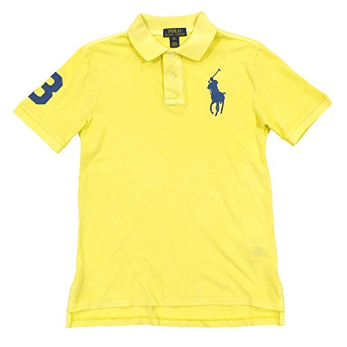 Big Pony Rugby Shirt (Polo Ralph Lauren Boys Big Pony Mesh Polo Shirt (M (10-12), Banana Peel))
