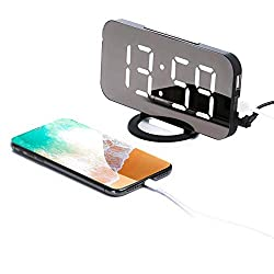 Wellonice Digital Alarm Clock - Stylish led Clock with 2 USB Ports - 6.5 inch Display Stylish led with Automatic Brightness Control