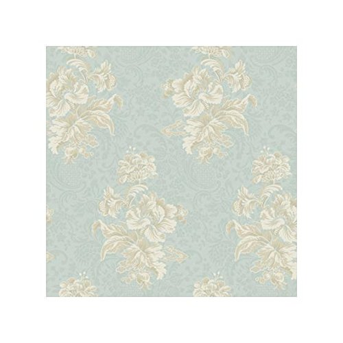 (York Wallcoverings PL4629 Hyde Park Damask Bouquet Wallpaper, Aquamarine/Caribbean Blue/Tan/Eggshell)