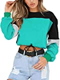 Angashion Womens Sweatshirt-Long Sleeve Drawstring Hem Color Block Crop Top Pullover Tops Green S