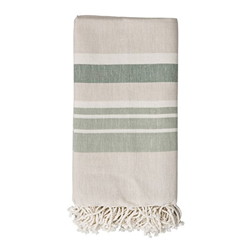(Bloomingville Beige Cotton Throw with Green Stripes & Fringe)