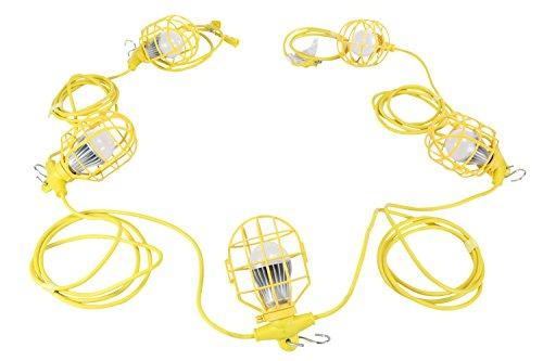 5 Blade 56' Blade (50ft Temporary Construction String Light - 5 LED Work Lamps - 50 Watt LED Stringer(-12-28VDC))