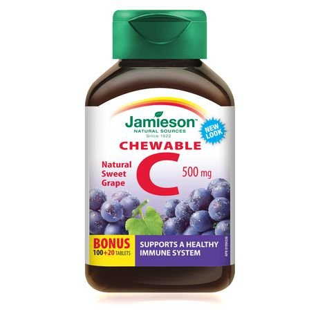 Vitamin C Chew 500mg Grape Bonus-100+20 tabs Brand: Jamieson Laboratories