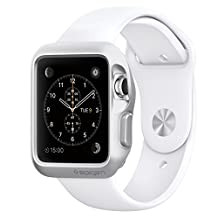 Spigen Slim Armor Apple Watch Case with Air Cushion Technology and 2 Screen Protectors Included for Apple Watch 42mm 2015 - Silver