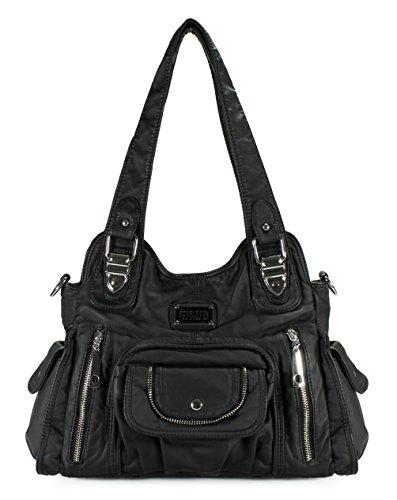- Scarleton Satchel Handbag for Women, Ultra Soft Washed Vegan Leather Crossbody Bag, Shoulder Bag, Tote Purse, Black, H163501