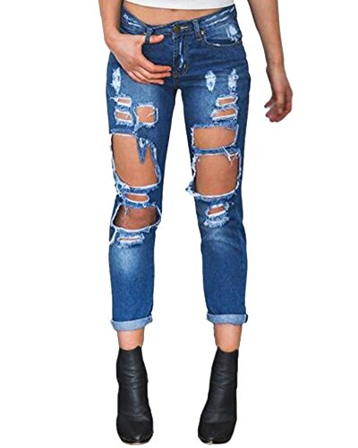 Femme Pantalons Stretch  La Hanche Pants Stretch Leggings Crayon Dchirs Straight Fit Jeans Bleu Fonc