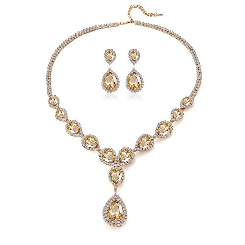 Paxuan Teardrop Champagne Necklace Earrings