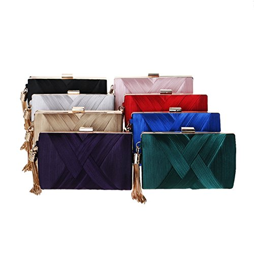 Clutch Wa Handbag Bags Wallet Ladies Wedding Satin Bag Purse Bag Rouge Gift Bag For Bridal Da Evening Women's Clutches Party Birthday Tassel 4EqEd