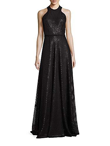Carmen Marc Valvo Embroidered Sequin Halter Evening Gown Dress Black (Carmen Marc Valvo Wedding)