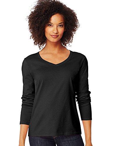 - Hanes Women's V-Neck Long Sleeve Tee, Ebony, Large
