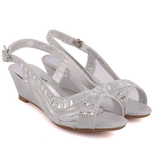 Unze Girls Teena Diamante verschönert Peep-Toe Sling zurück Mid Low Kitten Ferse Abendgesellschaft Karneval Holen Sie sich Brunch Hochzeit Ferse Sandalen Schuhe Größe 1-13 - L2868-3