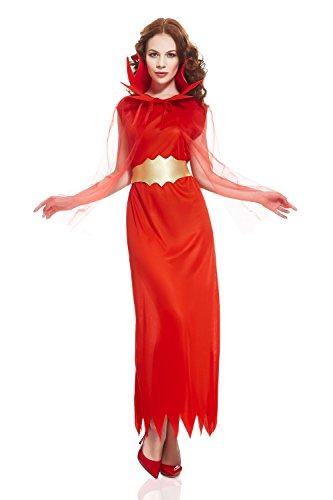 She Devils Costumes (Adult Women Red Demoness Halloween Costume She's the Devil Dress Up & Role Play (One Size - Fits All, red, gold))