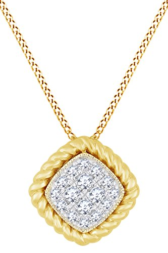 AFFY Round White Natural Diamond Cushion Frame Pendant Necklace in 14k Solid Yellow Gold (0.18 Ct) (14k Yg Frame)