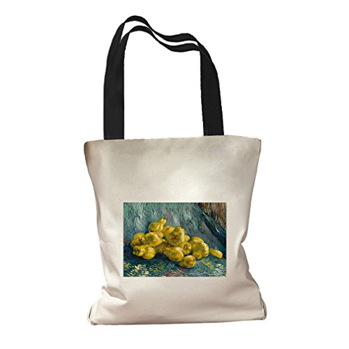 Still Life With Quinces (Van Gogh) Canvas Colored Handles Tote Bag - Black