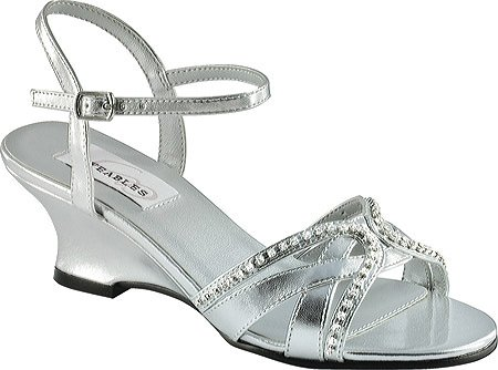 Dyeables Women's Peg Wedge Sandal,Silver - Silver Metallic Rhinestone Shoe Shopping Results