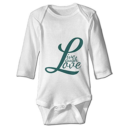 Printed Live Laugh Love Retro Cute Newborn Infant Baby Girls Long Sleeves Bodysuit Outfits Clothes -