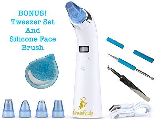 Price comparison product image Blackhead Remover Vacuum Pore Cleaner Comedo Suction with Bonus Blackhead Tweezer Set and Silicone Face Brush