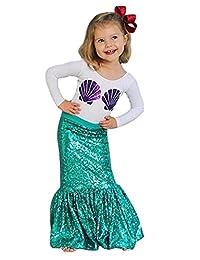 SUPEYA Baby Girls Catoon Mermaid Outfits Long Sleeve T-Shirt Sequin Skirt 2Pcs Set