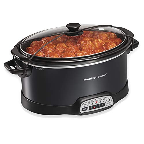 Hamilton Beach Portable 7-Quart Programmable Slow Cooker With Lid Latch Strap for Easy Transport, Dishwasher-Safe Crock, Black (33474) (Set It Off Band Phone Case)