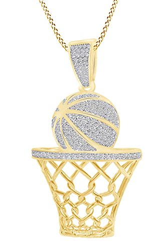 - AFFY Round White Cubic Zirconia Basketball Pendant Necklace in 14k Yellow Gold Over Sterling Silver