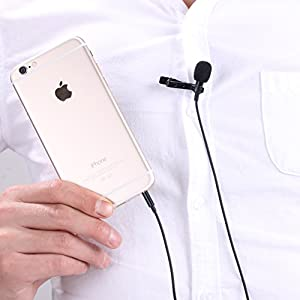 MUXMA Omnidirectional Professional Grade Lavalier Condenser Microphone - Easy Lapel Clip On System - Perfect Hands Free Recording for Youtube and Jam Sessions - Apple iPhone and Smartphone Compatible