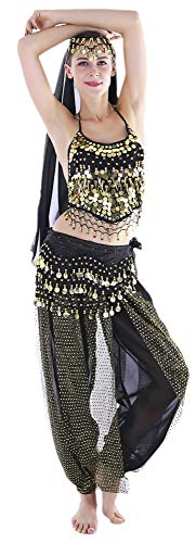 Seawhisper Ladies Black Belly Dancer Costume Genie Outfits for Halloween -