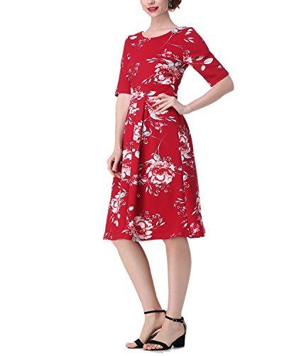 58 Impresión Mujer Boda Talla ZAFUL 56 Vintage Flores Rojo Grande Medias Mangas Fiesta Vestido d6d7wX
