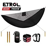 ETROL Camping Hammock, Upgrade Lightweight Hammock with Mosquito Net, Portable Asymmetric Shape Design Ridge Line Hammock for Beach, Backyard, Backpacking Travel, Hiking, or Other Outdoor Activities