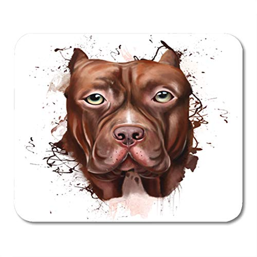 Semtomn Gaming Mouse Pad Animal Collection Dog Portrait of Pitbull Closeup on Squirt 9.5