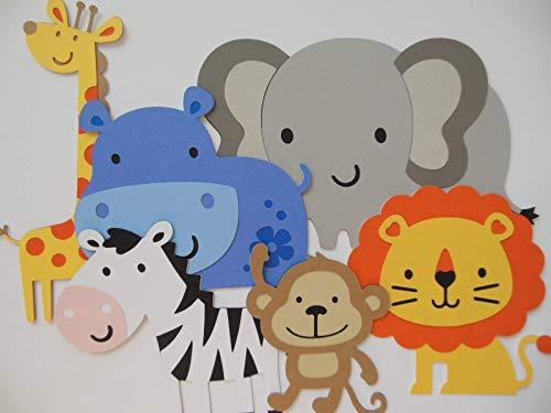 Safari or Zoo Animal Cutouts - Lion, Zebra, Giraffe, Elephant, Hippo and Monkey - Set of 6 -