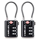 TSA Compatible Travel Luggage Locks, Inspection Indicator, Easy Read Dials- 2 Pack