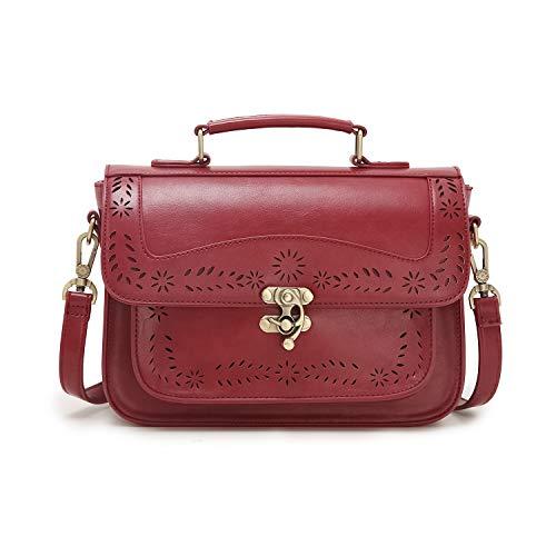 (ECOSUSI Vintage Girl's Faux Leather Satchel Purse Small School Crossbody Messenger Bag Work Cross-body Bag )