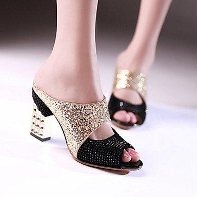 Sandalias Primavera Verano Oto?o Club Zapatos Glitter parte &Amp; traje de noche casual Chunky tal¨®n Sequin Negro Rojo US5 / EU35 / UK3 / CN34