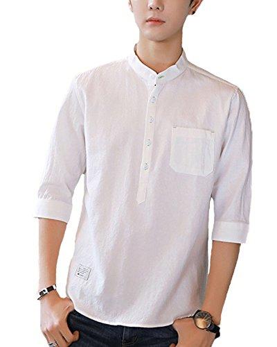 スプリット礼拝逸話Faston 7分袖 綿麻 リネンシャツ 七分袖シャツ ボタンダウン ワイシャツ メンズ カジュアルシャツ ストレッチ メンズ FA020