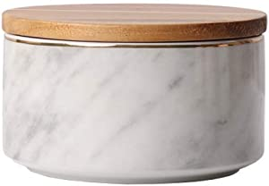 XUDREZ Ceramic Food Storage Jars Marble Pattern with Airtight Seal Wooden Lid for Tea, Coffee Bean, Spice, Sugar (700ml/23.67 oz)