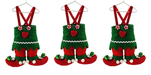 (Party Explosions North Pole Elf Suit on Hanger Fabric Christmas Ornament - Set of 3)