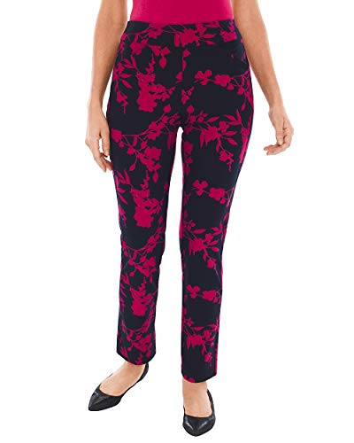 (Chico's Women's Travelers Collection Bloom-Print Crepe Pants Size 12 L (2 REG) Blue)