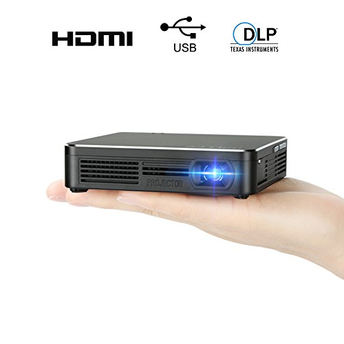 Pocket Portable DLP 1080p Projector 100 Lumens High Contrast Ratio LED Light Output Pico Video Projector 120 Inch Picture Mini Mobile Projector with HDMI USB 3.5mm Aux Out by SSLLKE ...