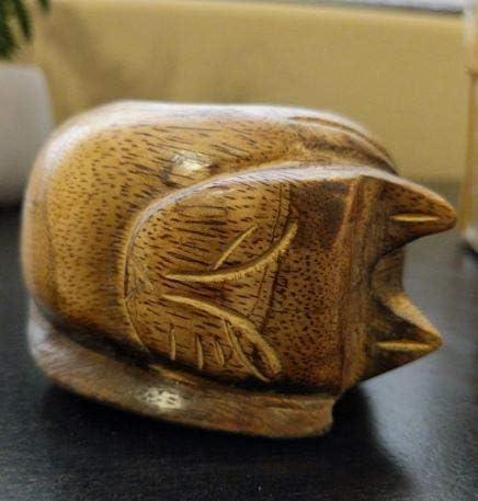 3.1 inch 8 cm Brown Khandekar Wooden Cat Tealight Candle Holder Tealight Holder Tea Light Holder for Home Decor