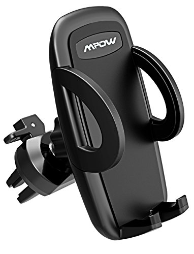 Car Vent Mount,Mpow Air Vent Car Phone Holder with 3-level Adjustable Clamp Cell Phone Car Mount Telephone Holder Car iPhone Holder with 360°Rotation for iPhone X iPhone 8/8/8 Plus/7/7 Plus/6S/6 Plus 5S SE,Samsung Galaxy S8/S7/S6 edge/S6,LG G5/G4, GPS and Other Devices, Black