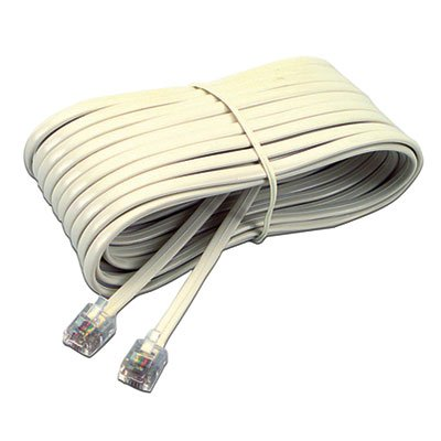(Telephone Extension Cord, Plug/Plug, 25 ft, Ivory (5 Pack))