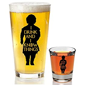 I Drink And I Know Things Beer Glass With Complimentary Shot Glass – Game Of Thrones Merchandise | Tyrion Lannister Funny Novelty Mug