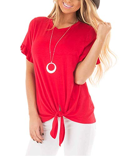 Pneacimi Casual Ruffle Short Sleeve Knot Tie Front Loose Fit Top Tee T-Shirt Blouses for Women (Red Shirt, XL)]()