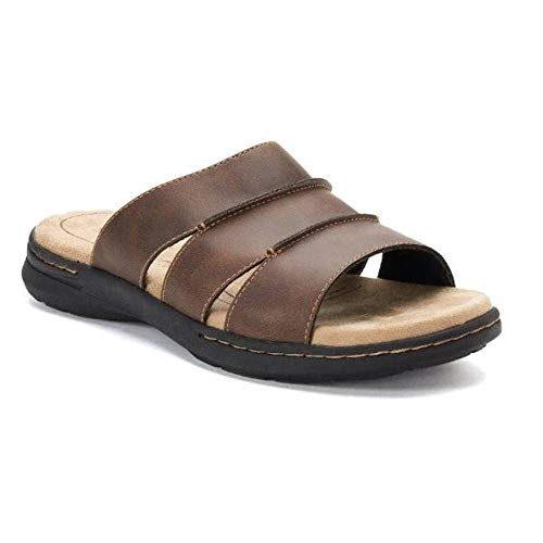 Croft & Barrow Mens Piano Ortholite Technology Slip On Slide Sandals Shoes, US 13, Brown