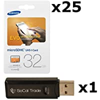 25 PACK - Samsung 32GB MicroSD HC Evo Class 10 UHS-1 TF MicroSDHC TransFlash High Speed Memory Card MB-MP32D 32G 32 GB GIGS (M.E32V.RTx25.550) LOT OF 25 with USB SoCal Trade© SCT Dual Slot MicroSD & SD Memory Card Reader - Retail Packaging