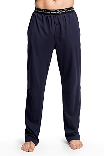 CYZ Men's 100% Cotton Jersey Knit Pajama Sleep/Lounge Pants-EveningBlue-M