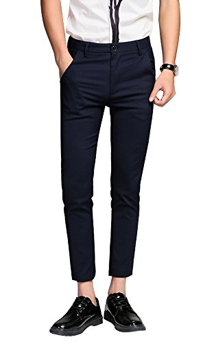 Plaid&Plain Men's Cropped Dress Pants Men's Slim Fit Dress Pants 7603Blue (Cropped Pants Shorts)