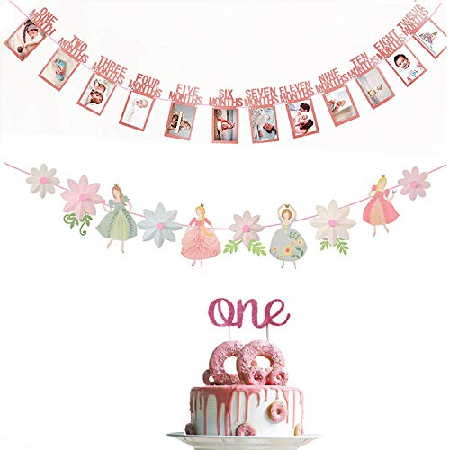 1st Birthday Girl Decoration Set & 1st Birthday Baby Photo Banner & Baby First Birthday Cake Topper Decoration & Princess & Flower Shape Birthday Party Banner & Girls Birthday Party -